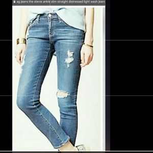 AG The Stevie Distressed Slim Straight Ankle Jeans